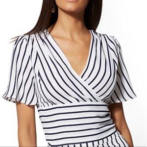 NY&C Navy and White Stripe blouse- XL